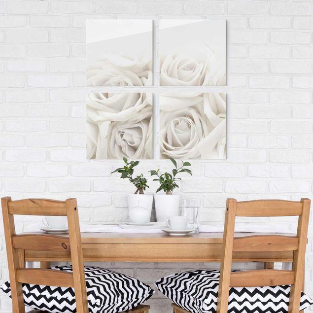 Glasbild mehrteilig - Weiße Rosen 4-teilig - Blumenbild Glas