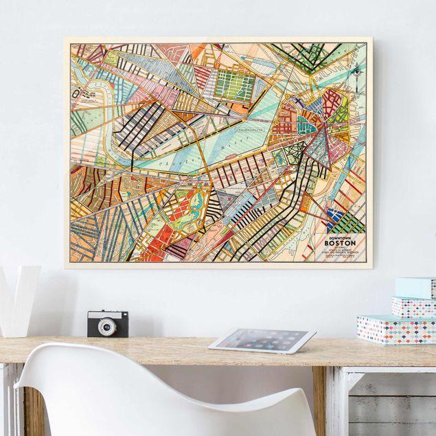 Glasbild - Moderne Karte von Boston - Querformat 3:4