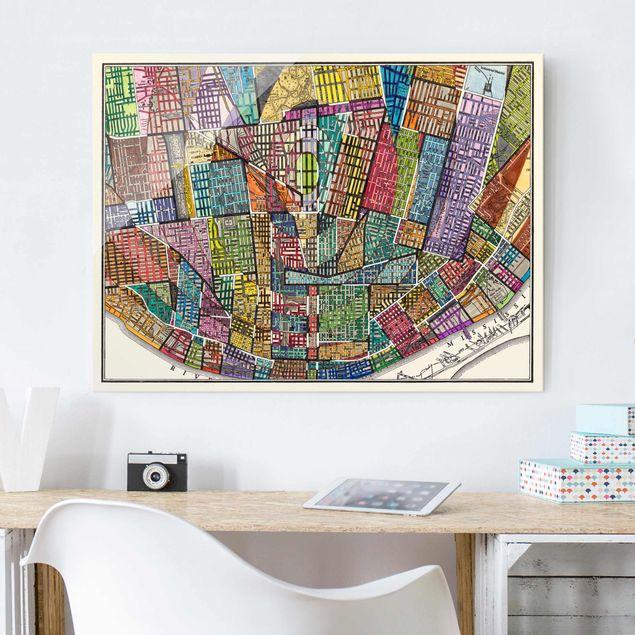 Glasbild - Moderne Karte von St. Louis - Querformat 3:4