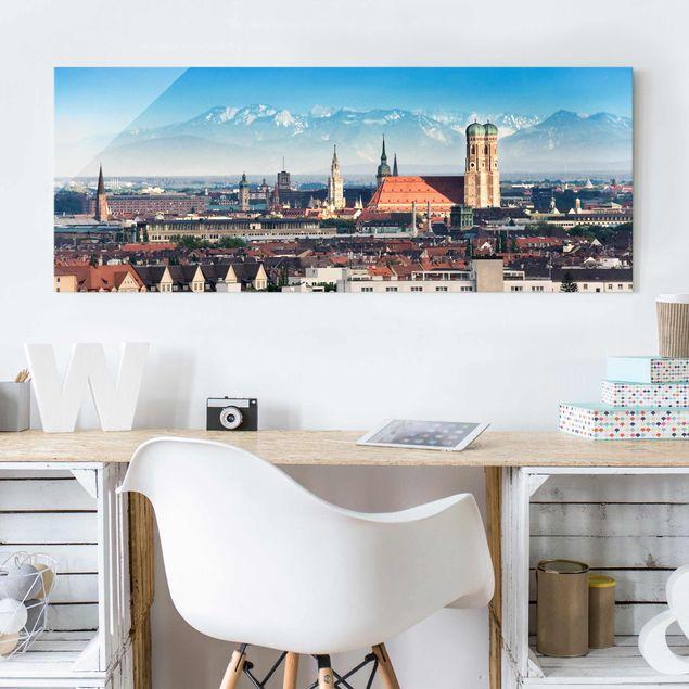 Glasbild - München - Panorama Quer