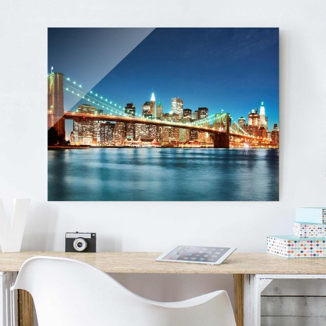 Glasbild - Nighttime Manhattan Bridge - Quer 4:3