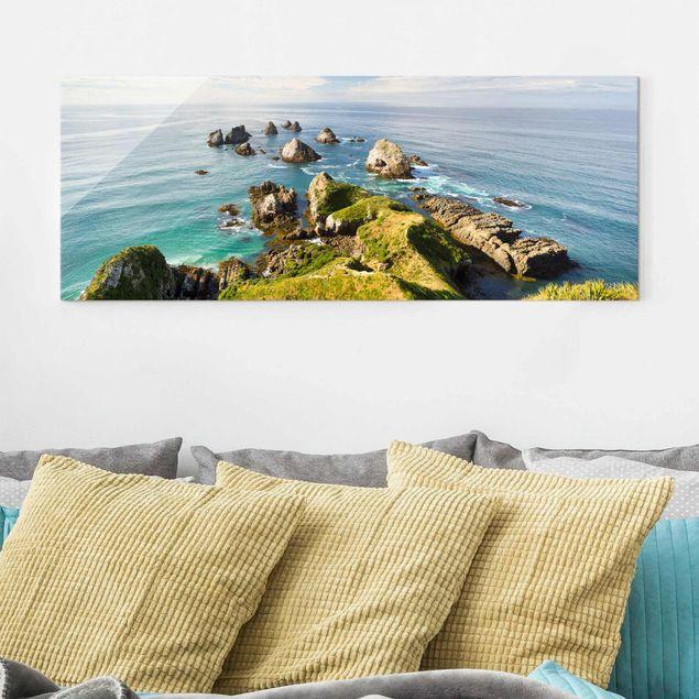 Glasbild - Nugget Point in Neuseeland - Panorama