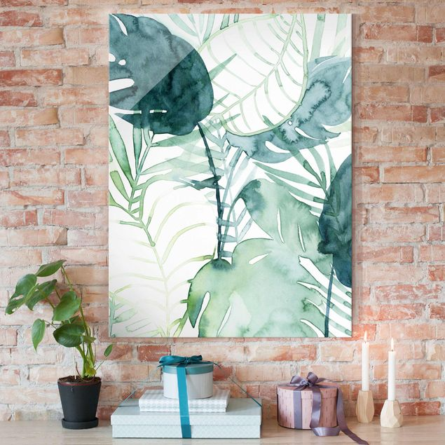 Glasbild - Palmwedel in Wasserfarbe II - Hochformat 4:3