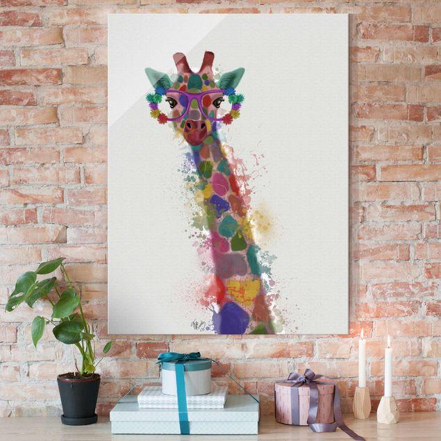 Glasbild - Regenbogen Splash Giraffe - Hochformat 4:3