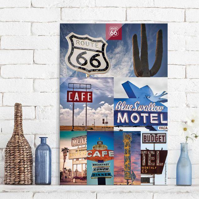Glasbild - Route 66 - Collage Blaues Motel - Hochformat 3:2