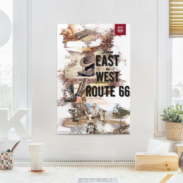 Glasbild - Route 66 - Collage East to West - Hochformat 3:2