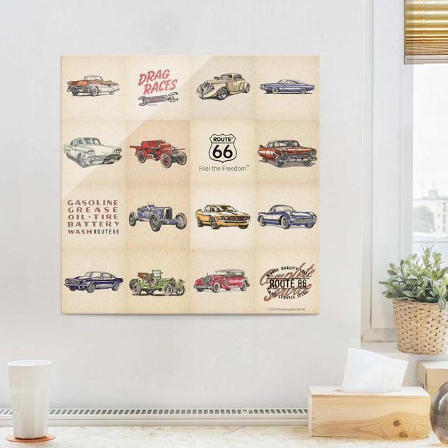 Glasbild - Route 66 - Collage Oldtimer - Quadrat 1:1