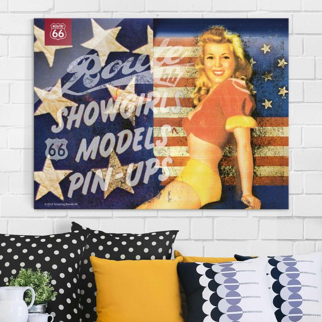 Glasbild - Route 66 - Pin-Up Showgirl - Querformat 3:4