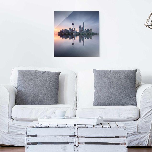 Glasbild - Shanghai Skyline Morgenstimmung - Quadrat 1:1