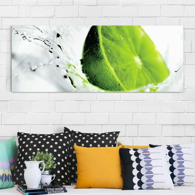 Glasbild - Splash Lime - Panorama Quer