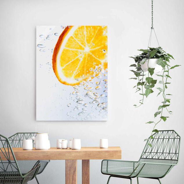 Glasbild - Splash Orange - Hoch 3:4
