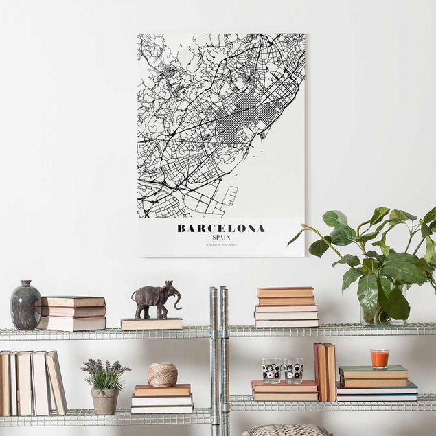 Glasbild - Stadtplan Barcelona - Klassik - Hochformat 4:3