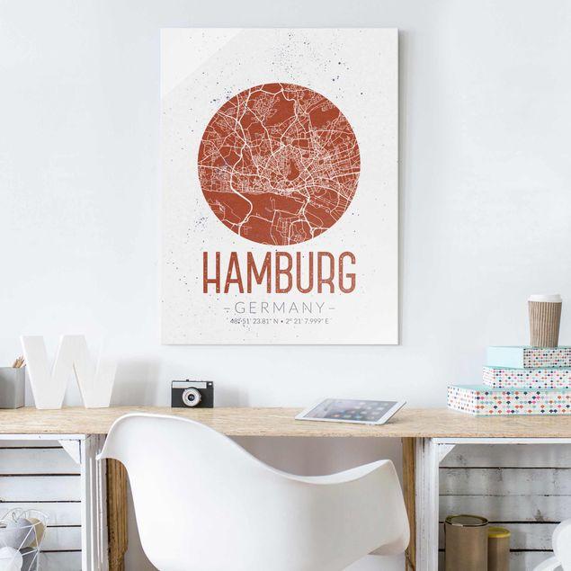 Glasbild - Stadtplan Hamburg - Retro - Hochformat 4:3
