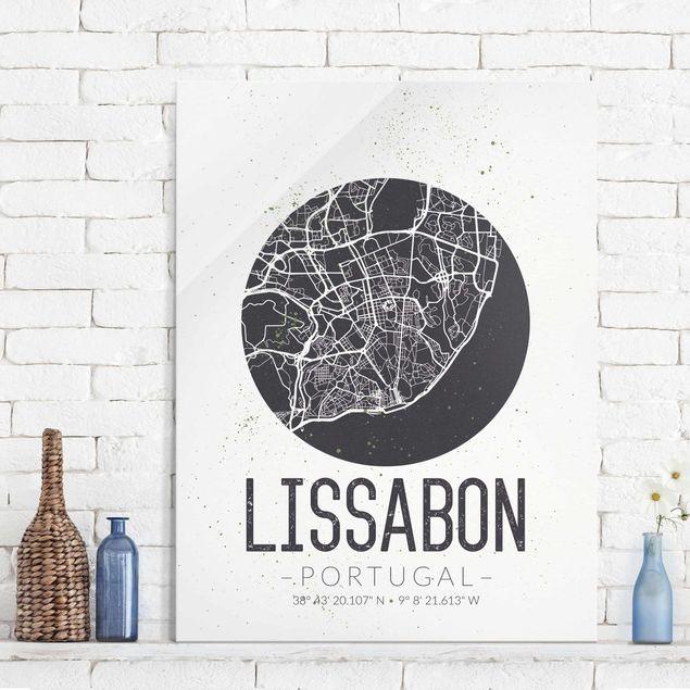 Glasbild - Stadtplan Lissabon - Retro - Hochformat 4:3