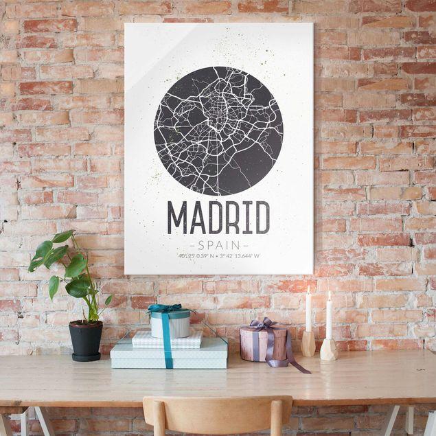 Glasbild - Stadtplan Madrid - Retro - Hochformat 4:3