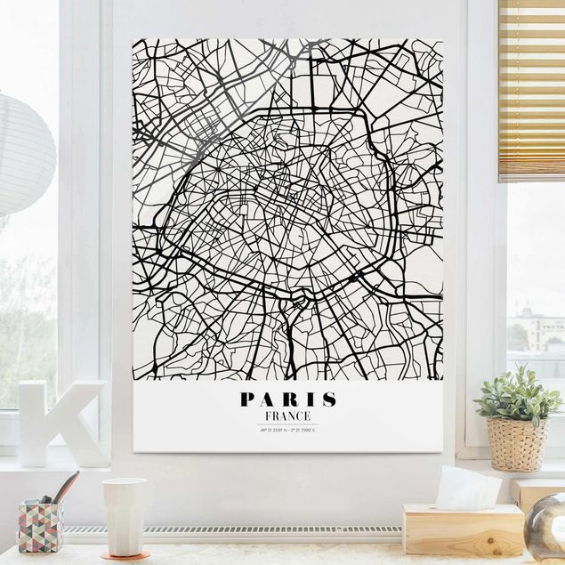 Glasbild - Stadtplan Paris - Klassik - Hochformat 4:3