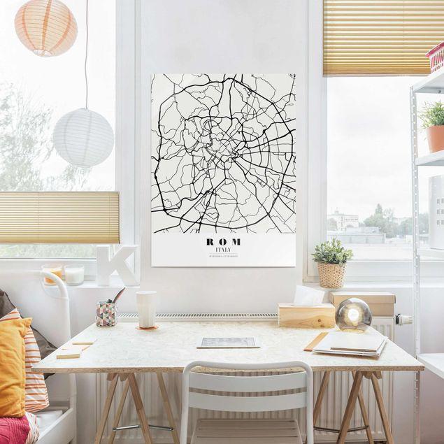 Glasbild - Stadtplan Rom - Klassik - Hochformat 4:3