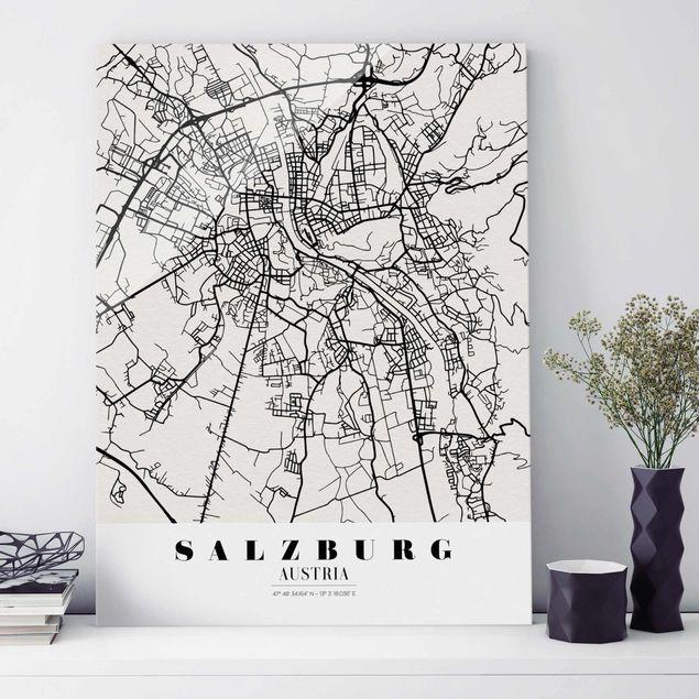 Glasbild - Stadtplan Salzburg - Klassik - Hochformat 4:3