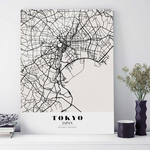 Glasbild - Stadtplan Tokyo - Klassik - Hochformat 4:3