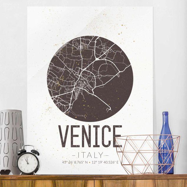 Glasbild - Stadtplan Venice - Retro - Hochformat 4:3
