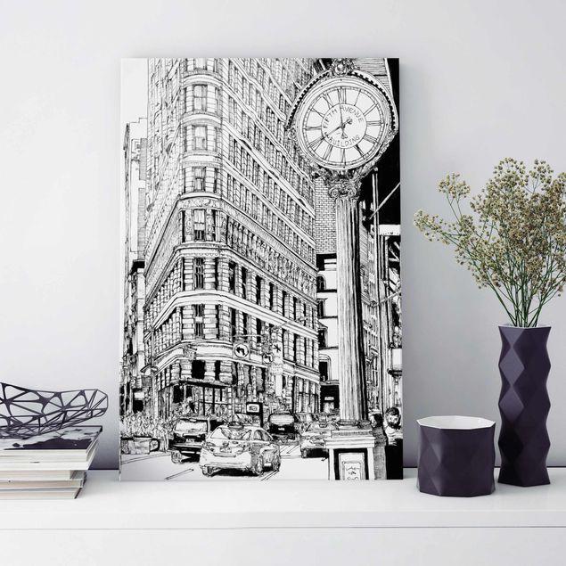 Glasbild - Stadtstudie - Flatiron Buidling - Hochformat 3:2