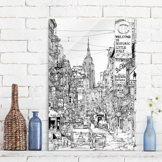 Glasbild - Stadtstudie - Little Italy - Hochformat 3:2