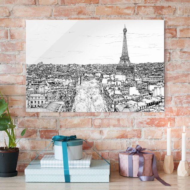 Glasbild - Stadtstudie - Paris - Querformat 2:3
