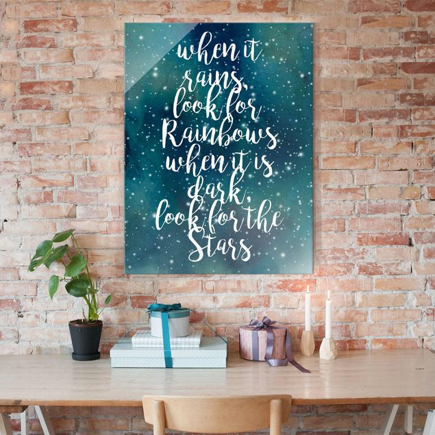 Glasbild - Sternenhimmel Regenbogen - Hochformat 4:3