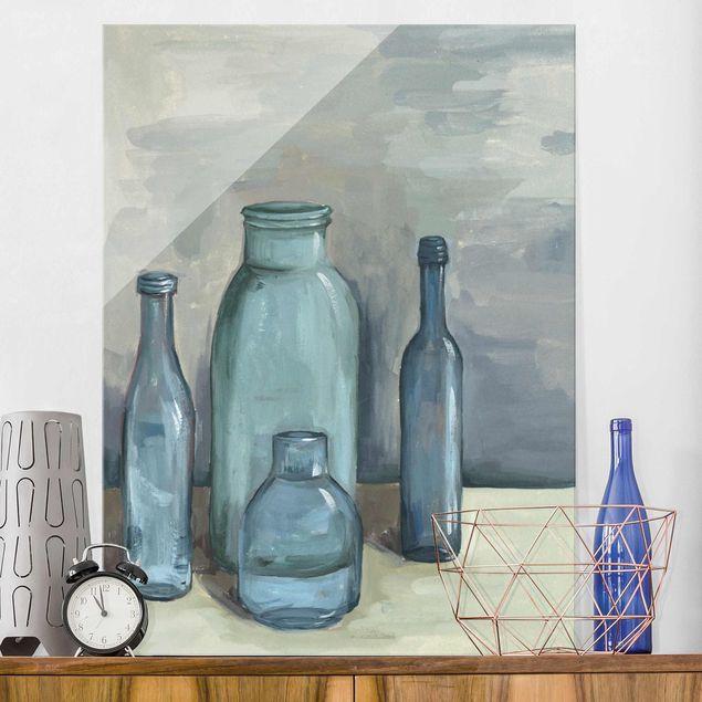 Glasbild - Stillleben mit Glasflaschen II - Hochformat 4:3
