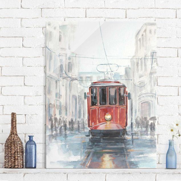 Glasbild - Straßenbahn-Studie I - Hochformat 4:3