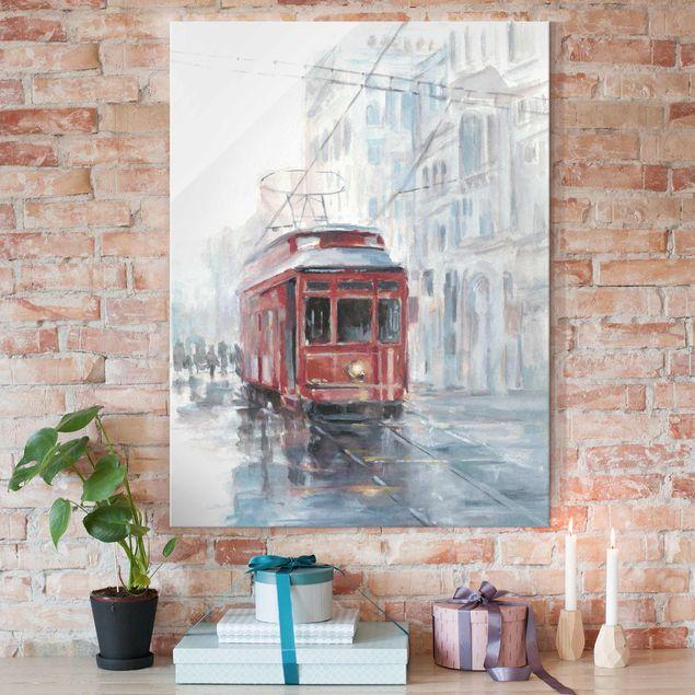Glasbild - Straßenbahn-Studie II - Hochformat 4:3