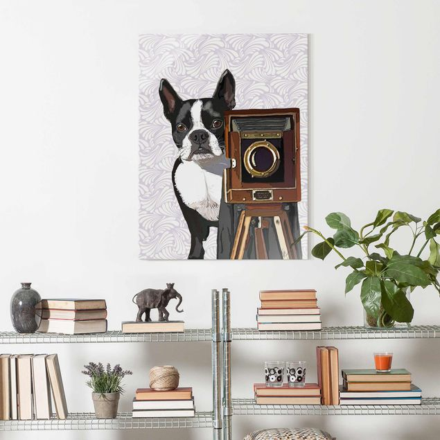 Glasbild - Tierfotograf Terrier - Hochformat 4:3