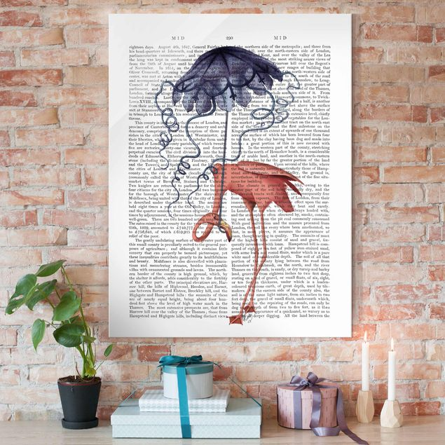 Glasbild - Tierlektüre - Flamingo mit Regenschirm - Hochformat 4:3
