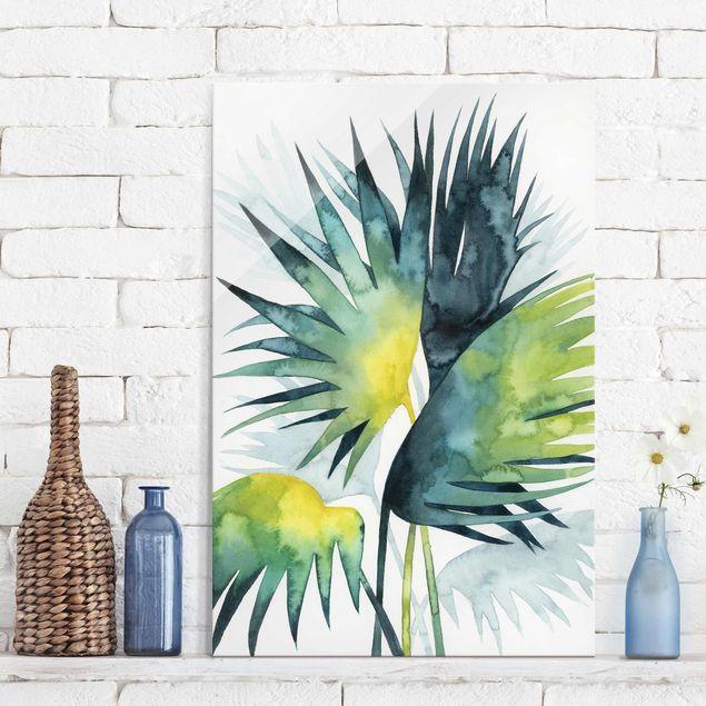 Glasbild - Tropisches Blattwerk - Fächerpalme - Hochformat 3:2