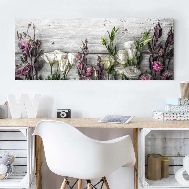 Glasbild - Tulpen-Rose Shabby Holzoptik - Panorama Quer
