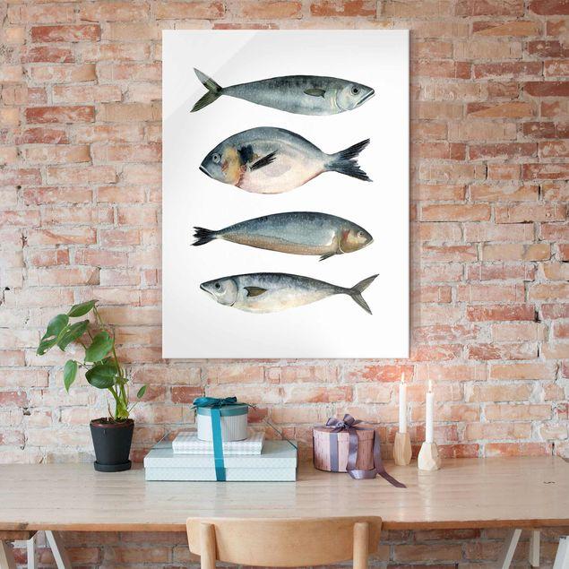 Glasbild - Vier Fische in Aquarell II - Hochformat 4:3