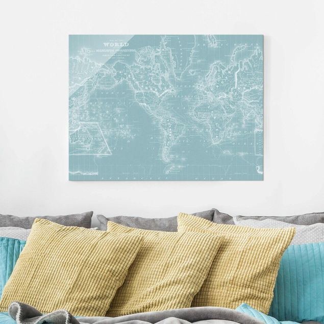 Glasbild - Weltkarte in Eisblau - Querformat 3:4