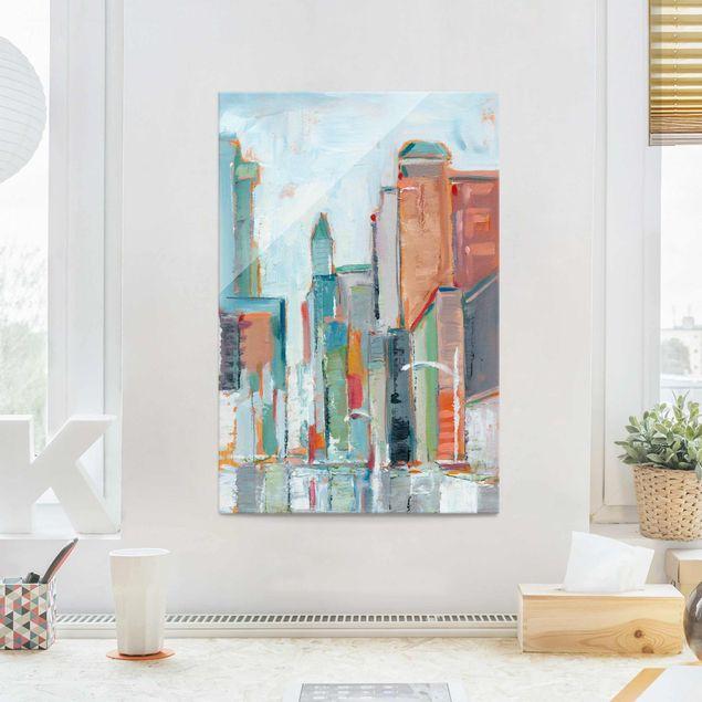 Glasbild - Zeitgenössische Innenstadt I - Hochformat 3:2
