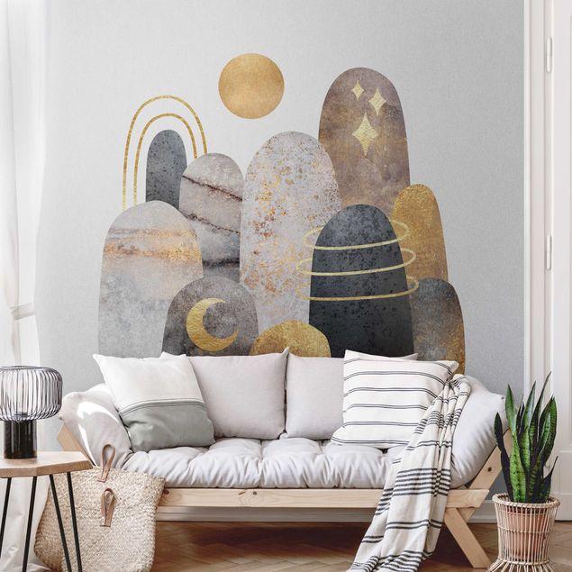 Metallic Tapete - Gold Berge mit Mond
