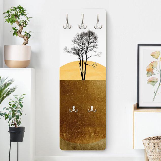 Garderobe - Goldene Sonne mit Baum