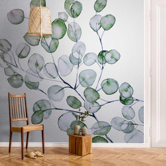 Metallic Tapete - Grünes Aquarell Eukalyptuszweig