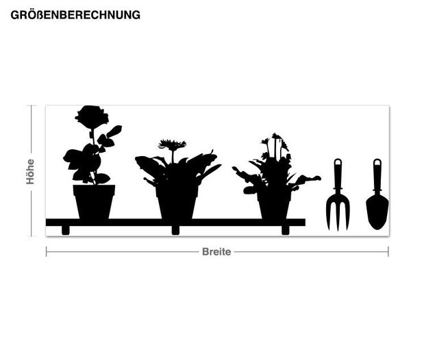 Haken-Wandtattoo Blumenregal