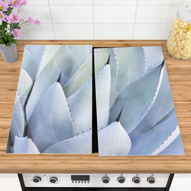 Herdabdeckplatte Glas - Agavenblätter