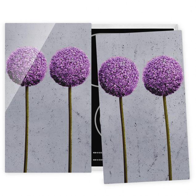 Herdabdeckplatte Glas - Allium Kugel-Blüten