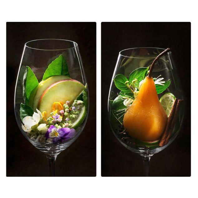 Herdabdeckplatte Glas - Aromen im Weinglas