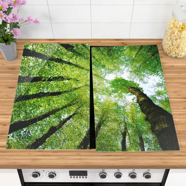 Herdabdeckplatte Glas - Bäume des Lebens