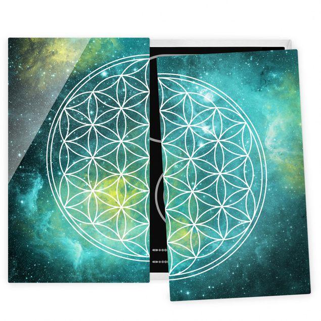 Herdabdeckplatte Glas - Blume des Lebens im Licht der Sterne