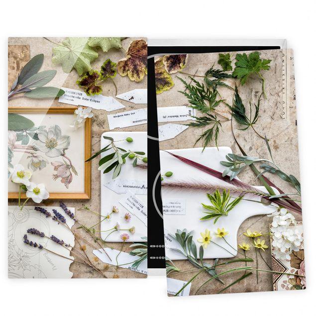 Herdabdeckplatte Glas - Blumen und Gartenkräuter Vintage