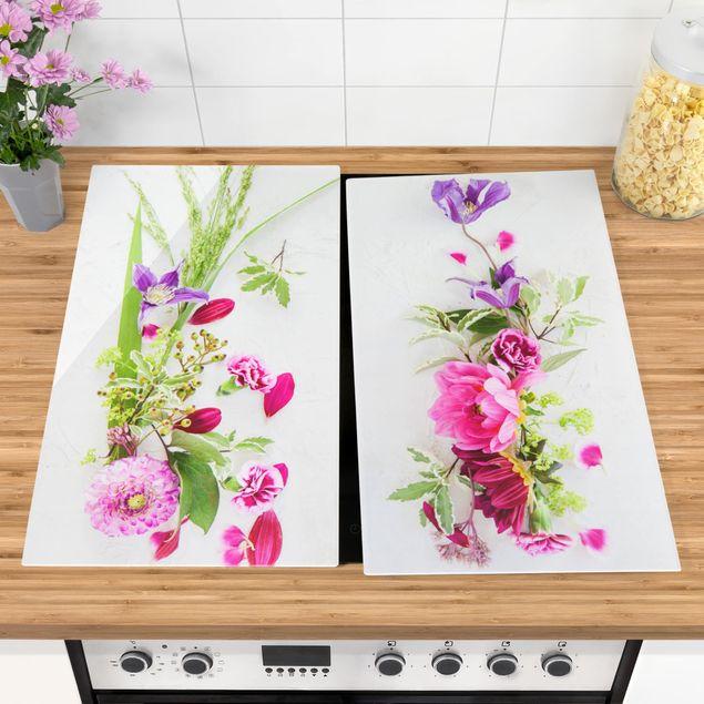 Herdabdeckplatte Glas - Blumenarrangement