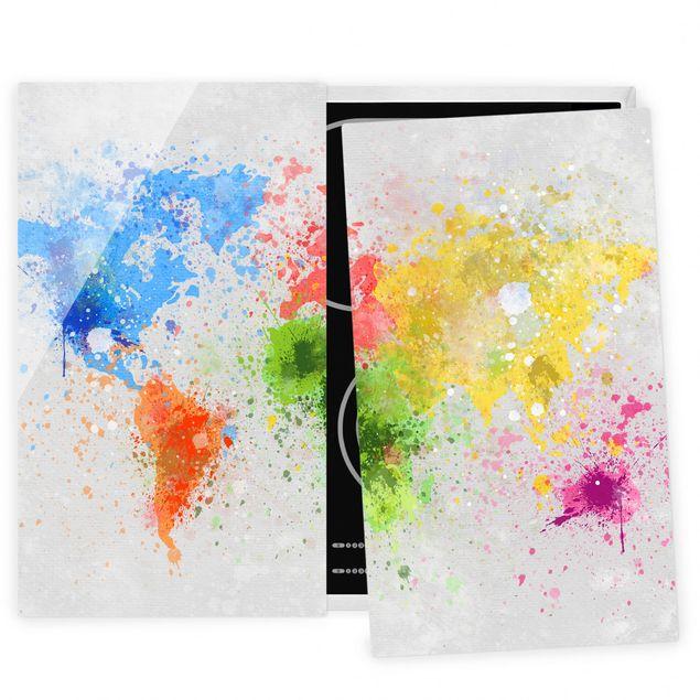 Herdabdeckplatte Glas - Bunte Farbspritzer Weltkarte